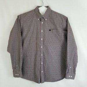 Cinch Mens Button Down L/S Gray Red Western Shirt